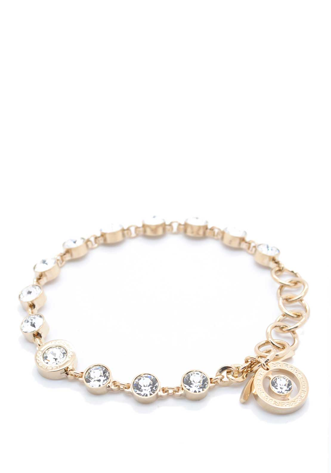 Rebecca Yellow Gold Double Row Crystal Link Bracelet, Gold