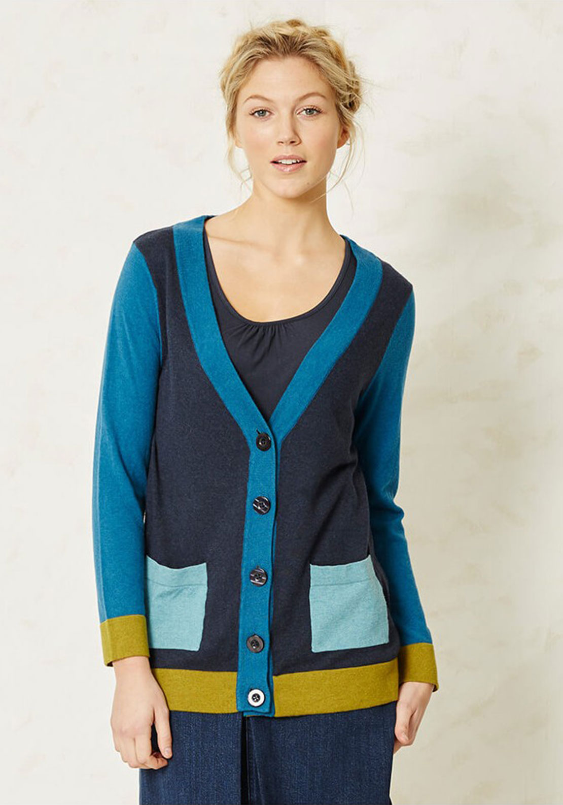 Braintree Hepworth Colour Block Cardigan, Navy