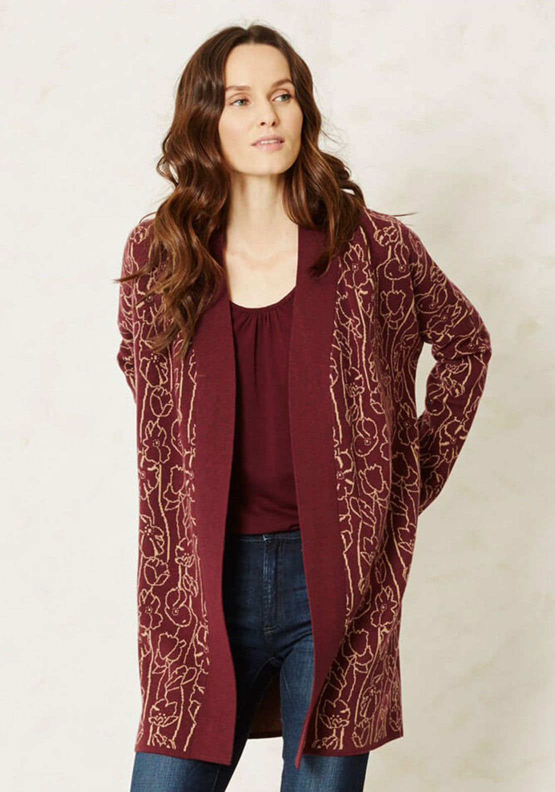 Braintree Agar Printed Cardigan, Wine