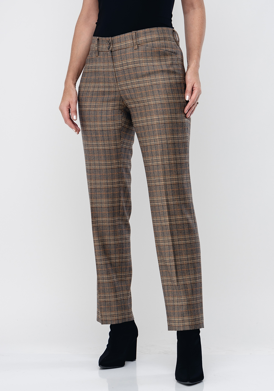 Brax Celine Check Slim Short Length Trousers, Brown