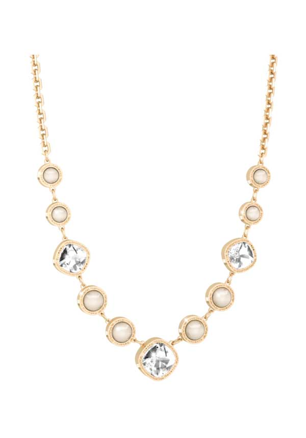 Rebecca Crystal and Pearl set Necklace, Gold