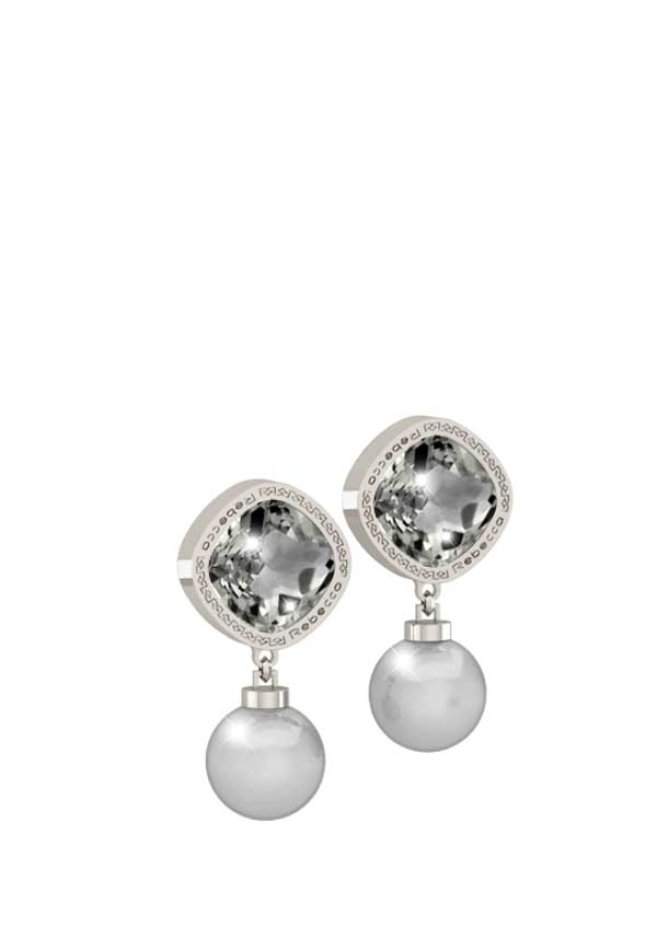 Rebecca Trilogy Silver earrings with pearl drop