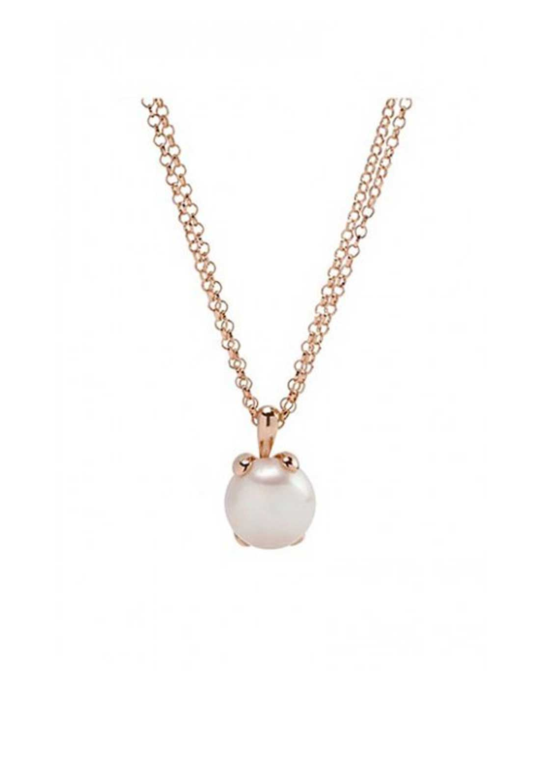 Bronzallure Pearl Pendant Necklace, Rose Gold