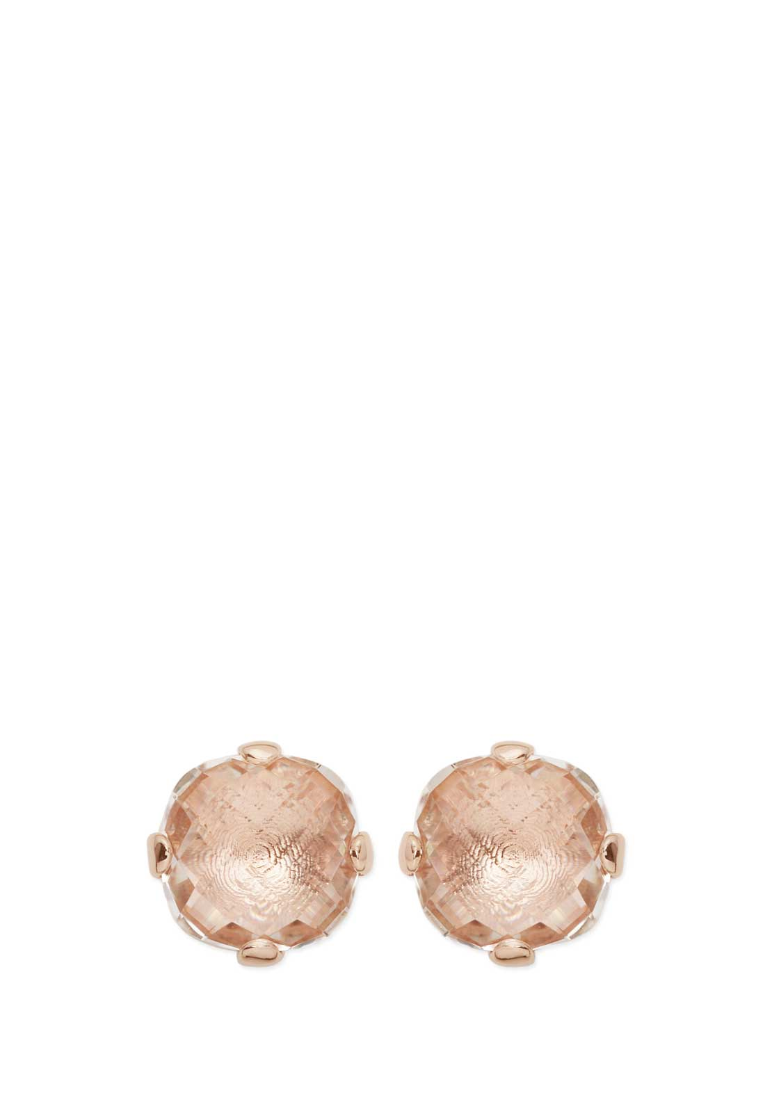 Bronzallure Peach Crystal Earrings, Rose Gold