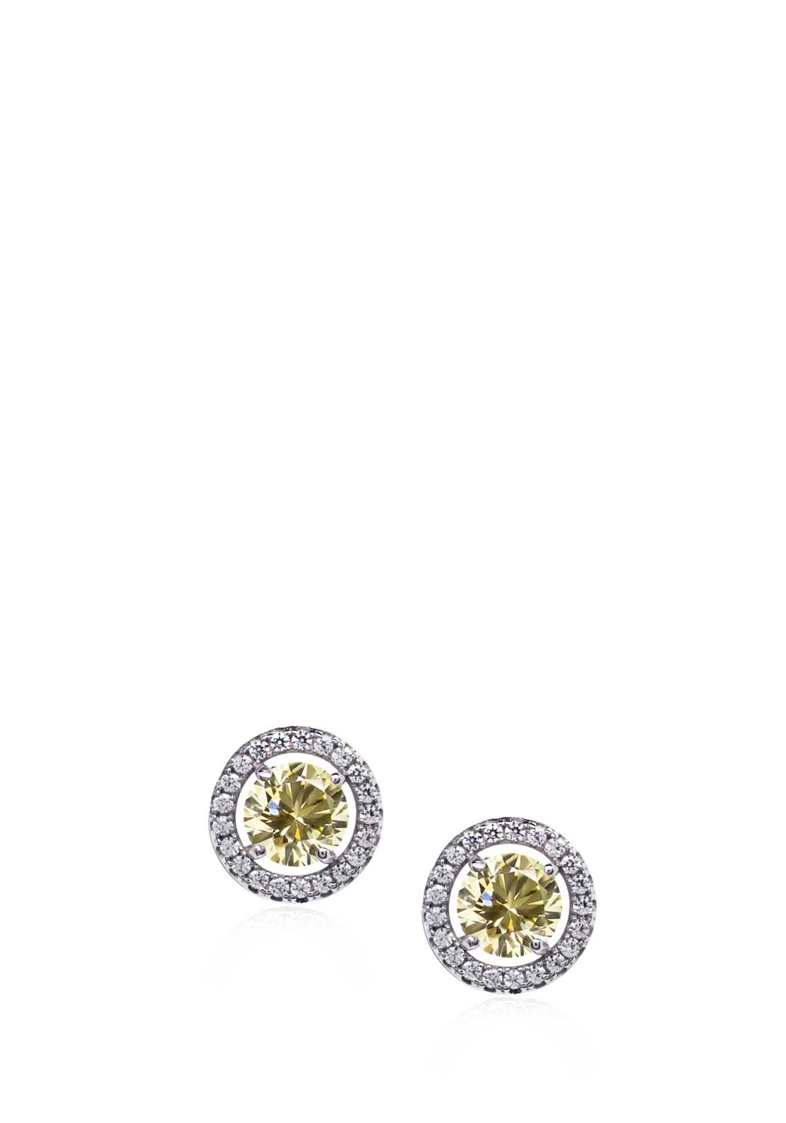 Carat London Classic Halo Set Fancy Yellow Stud Earring, Sterling Silver