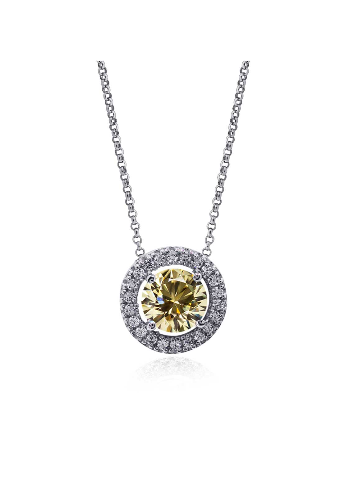 Carat London Classic Halo Set Fancy Yellow Pendant, Sterling Silver