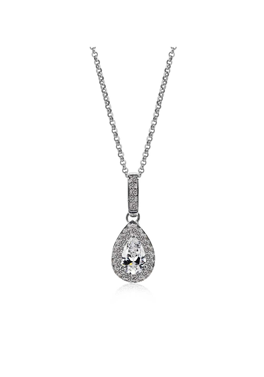 Carat London Halo Set Pear Pendant, Sterling Silver