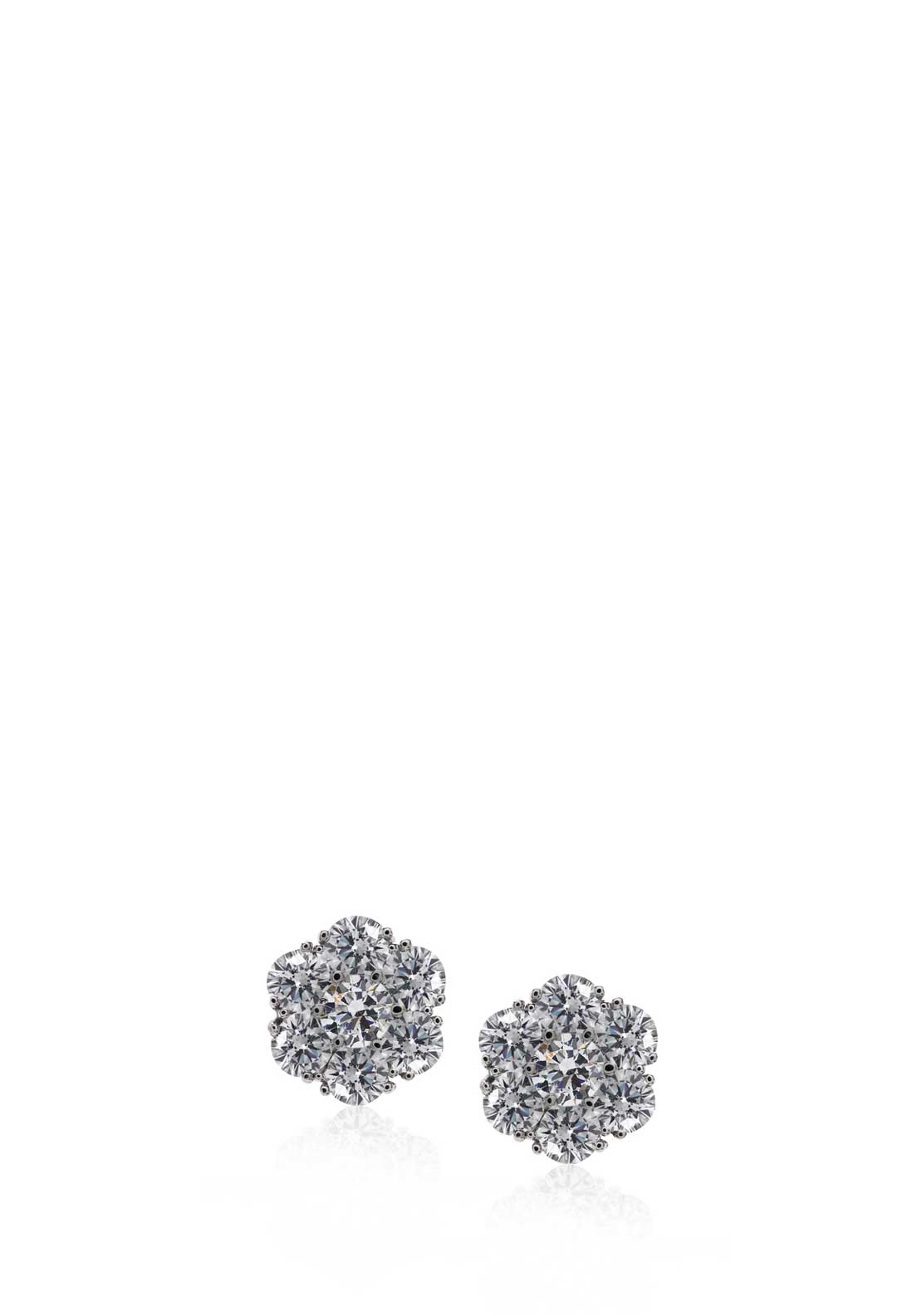 Carat London Created Diamond Flower Stud Earrings, Sterling Silver