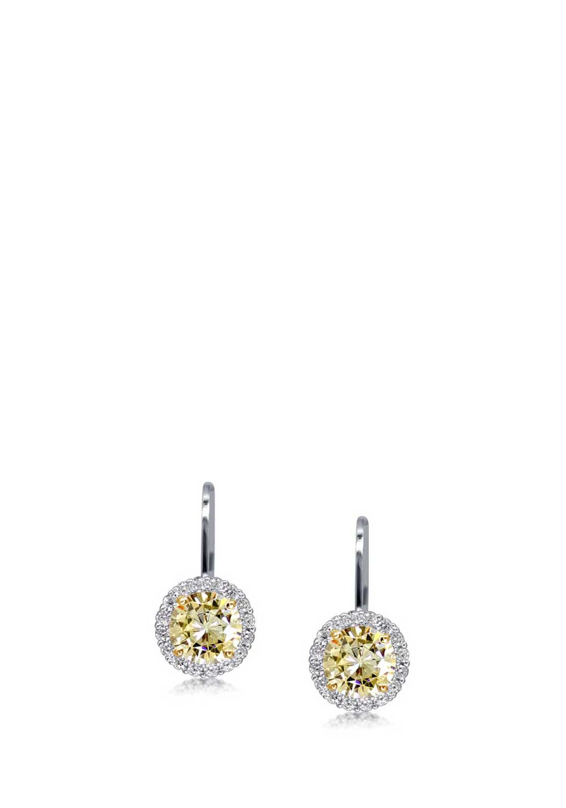 Carat London Classic Halo Set Fancy Yellow Drop Earrings, Sterling Silver