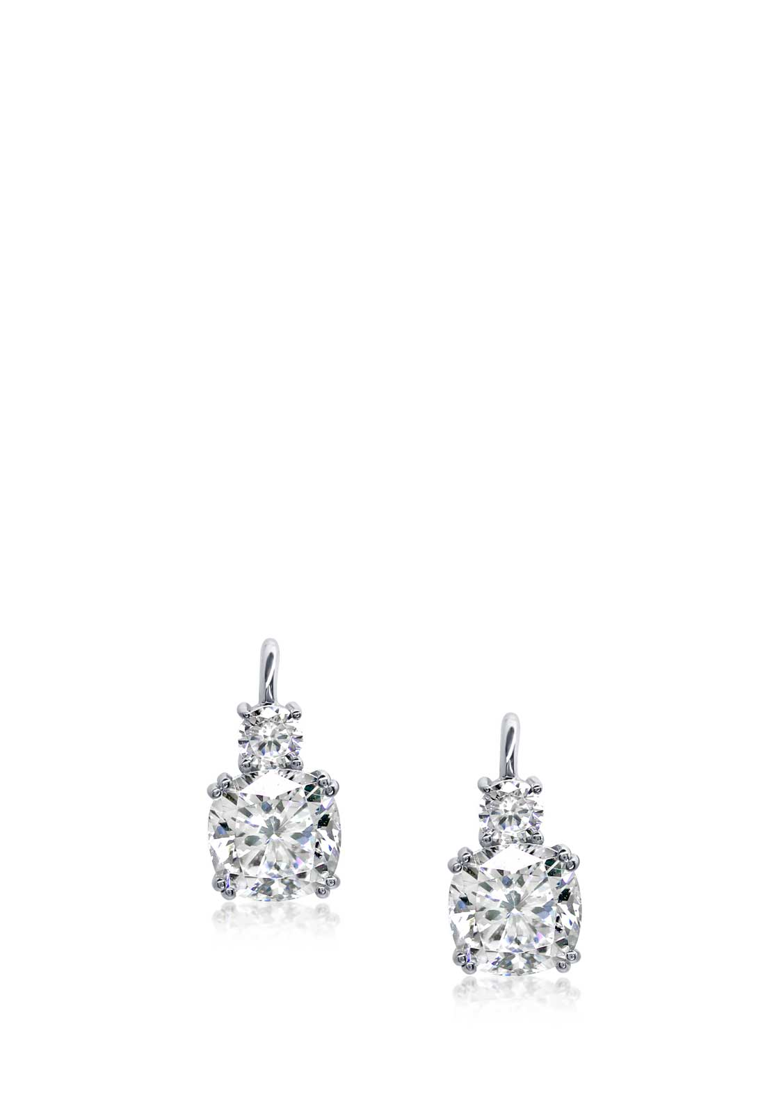 Carat London Cushion Cut Drop Earrings, Sterling Silver