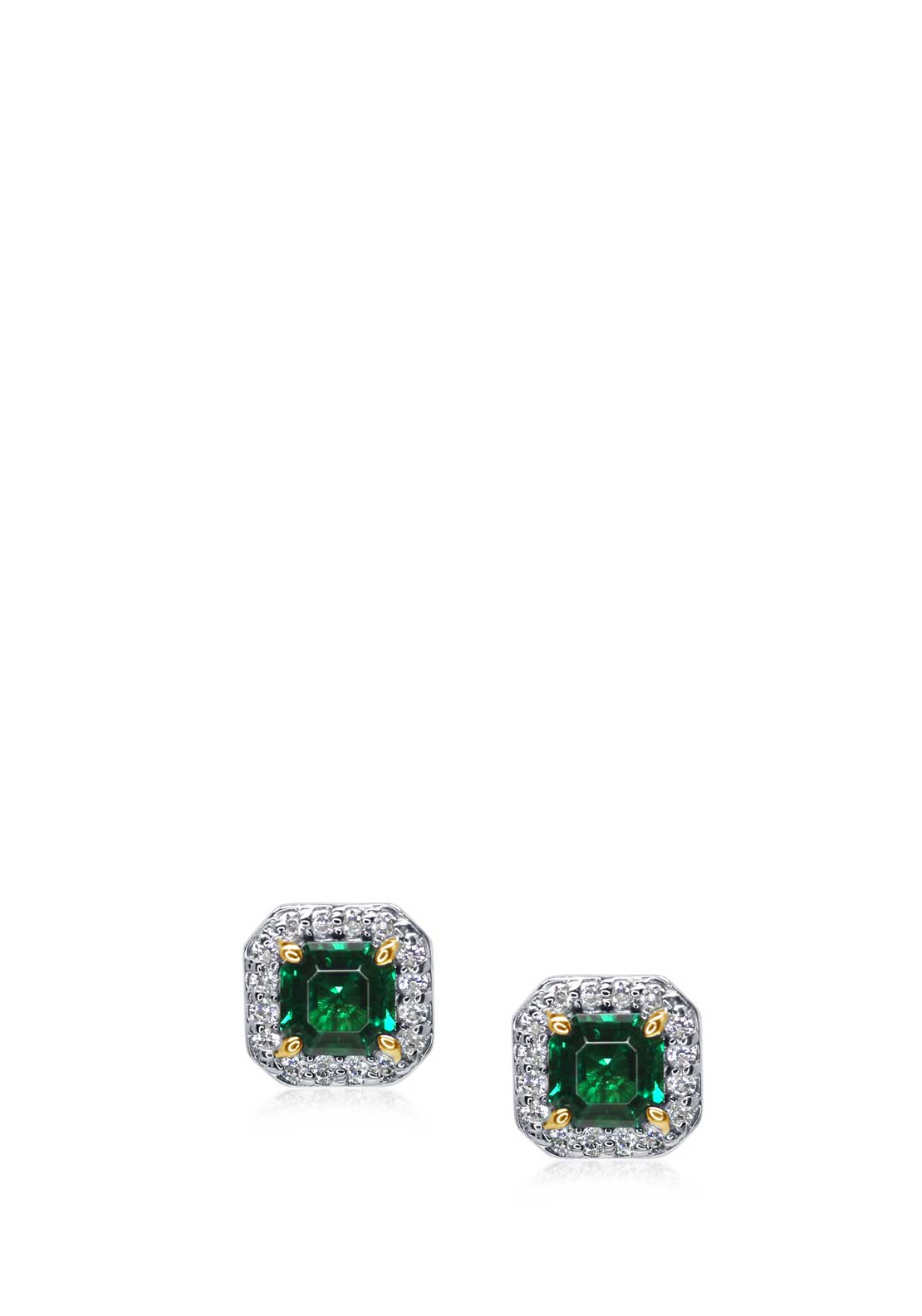 Carat London Mini Halo Set Emerald Stud Earrings, Silver