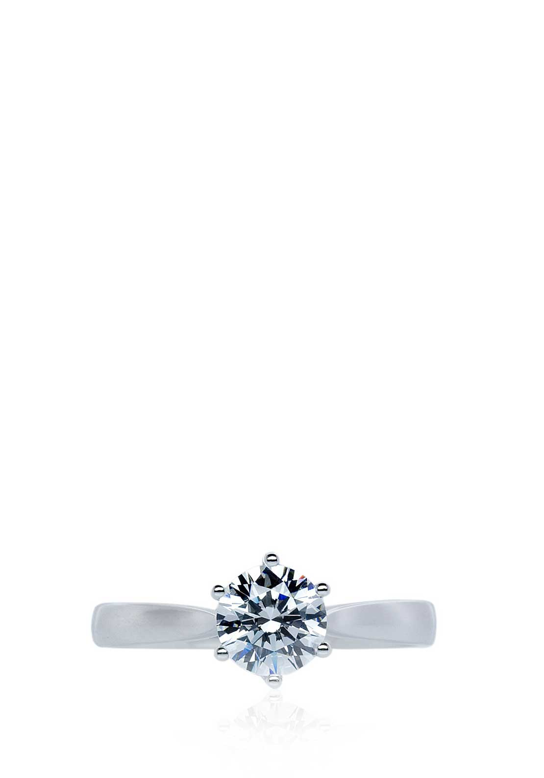 Carat London Rosy Round Solitaire Ring, White Gold
