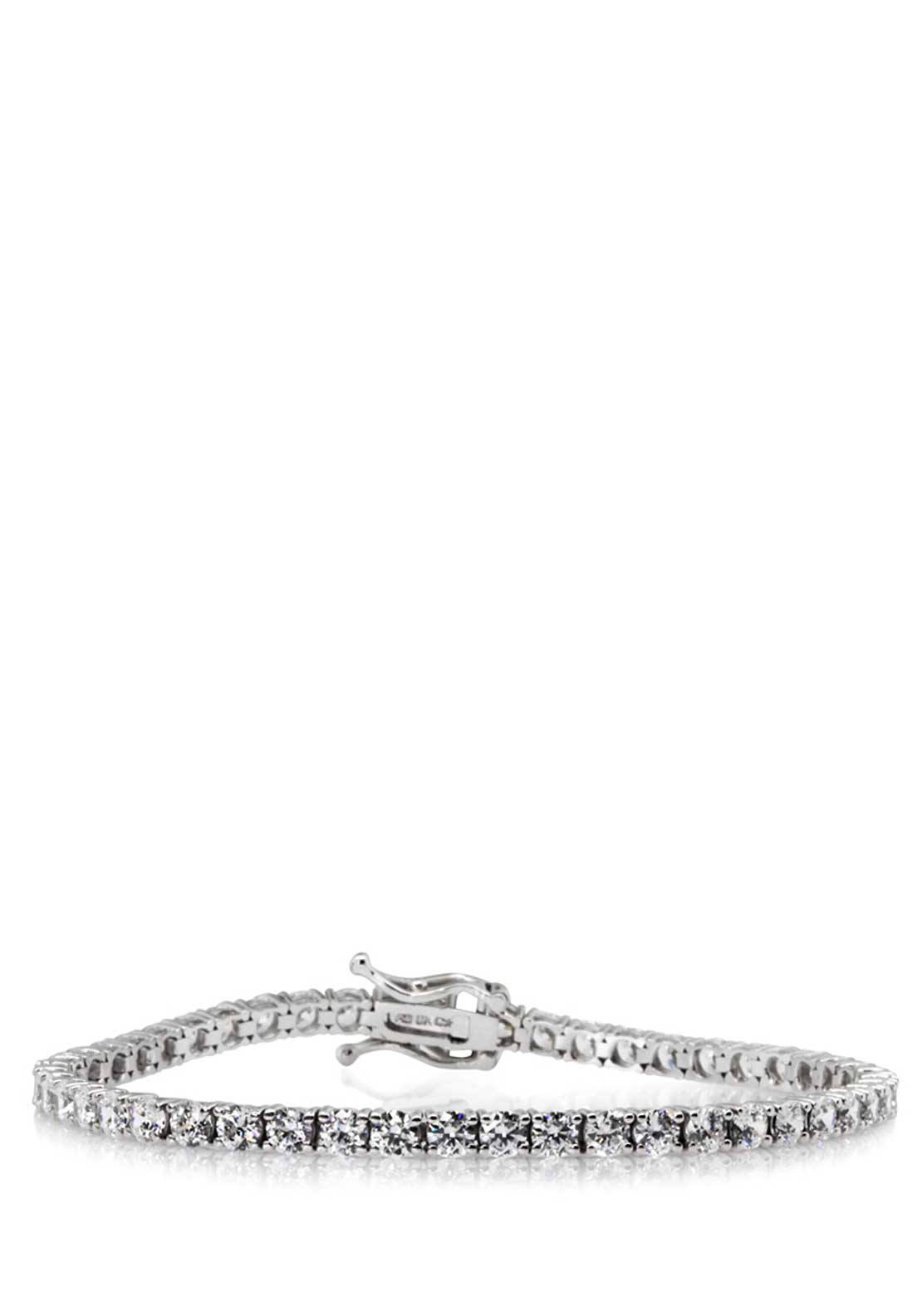 Carat London Brilliant Round Cut Tennis Bracelet, Silver