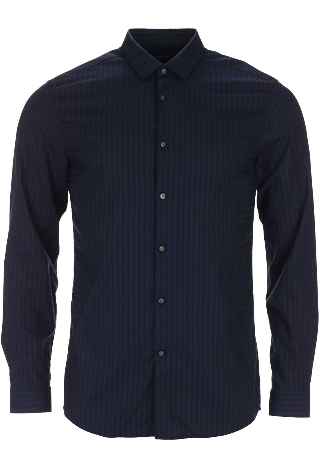 Calvin Klein Mens Willice Dobby Checked Long Sleeved Shirt, Navy