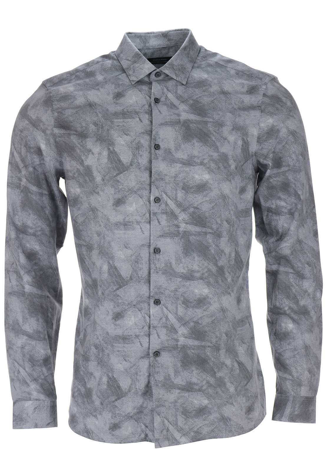 Calvin Klein Mens Wallace Brushstroke Printed Shirt, Grey