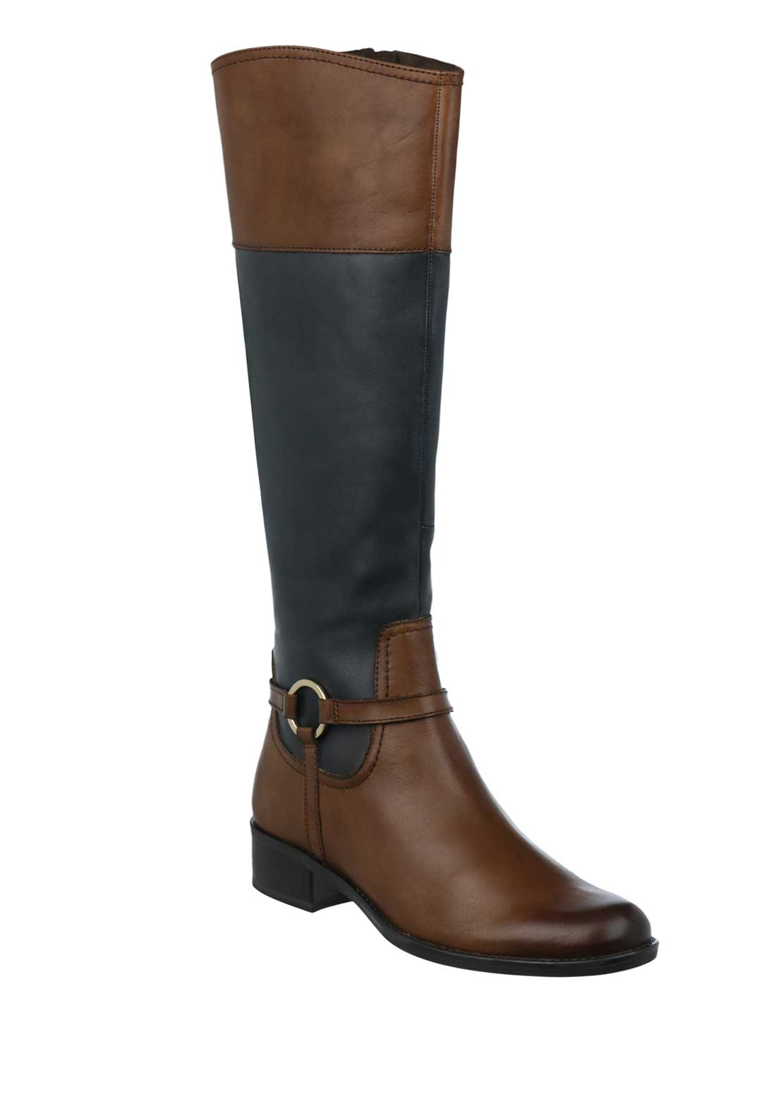 Caprice Leather Contrast Long Rider Boots, Tan