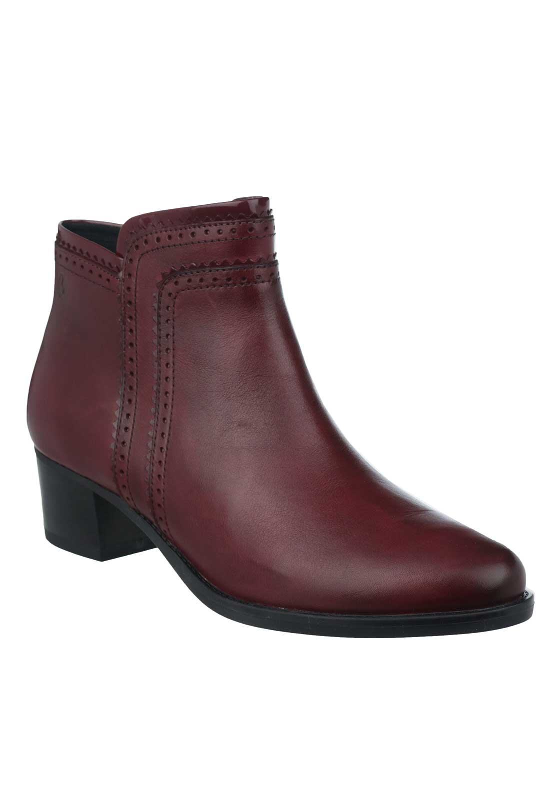 Caprice Brogue Stitched Leather Heeled Ankle Boots, Bordeaux