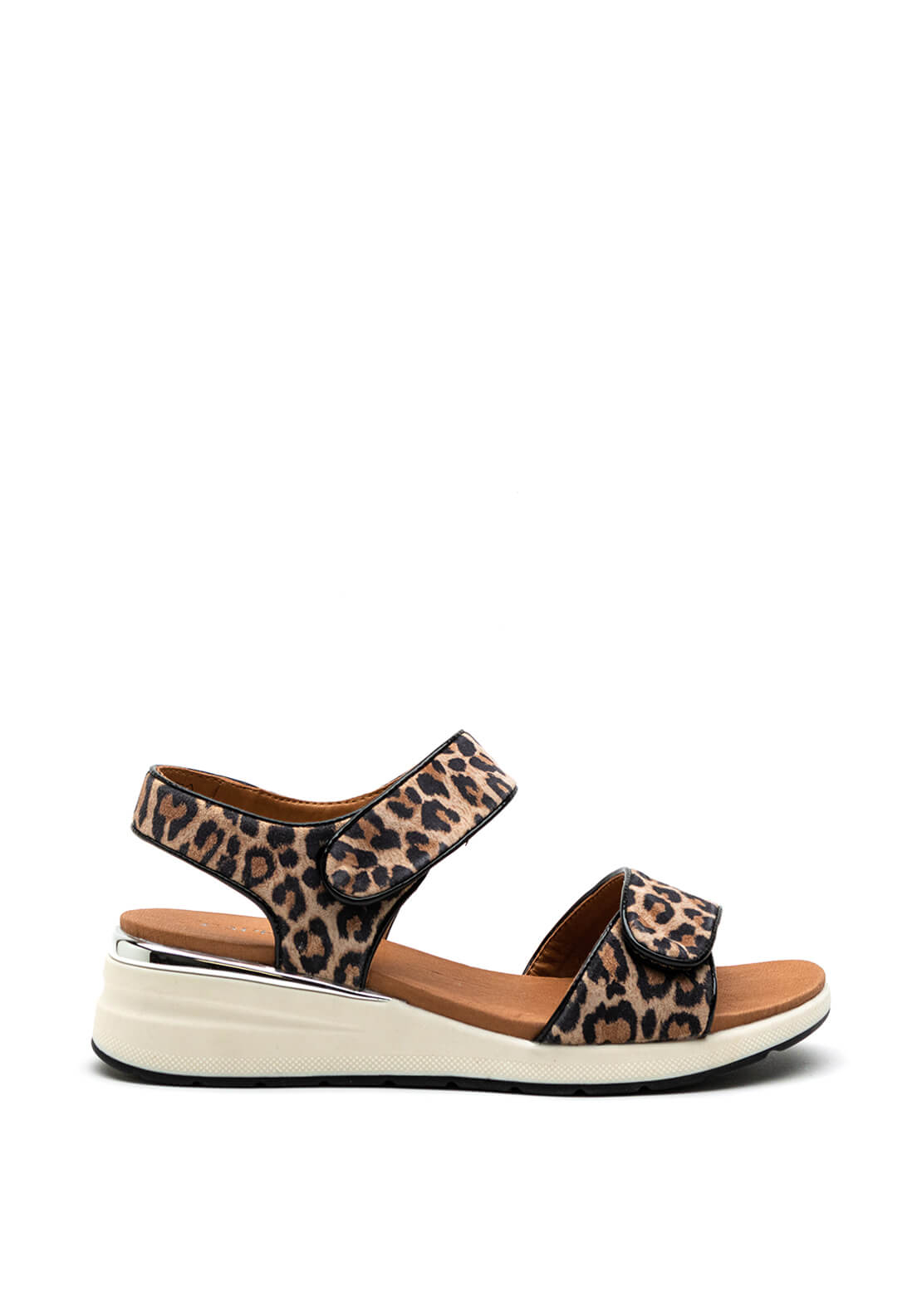 Caprice Leather Dual Strap Chunky Sandal, Leopard