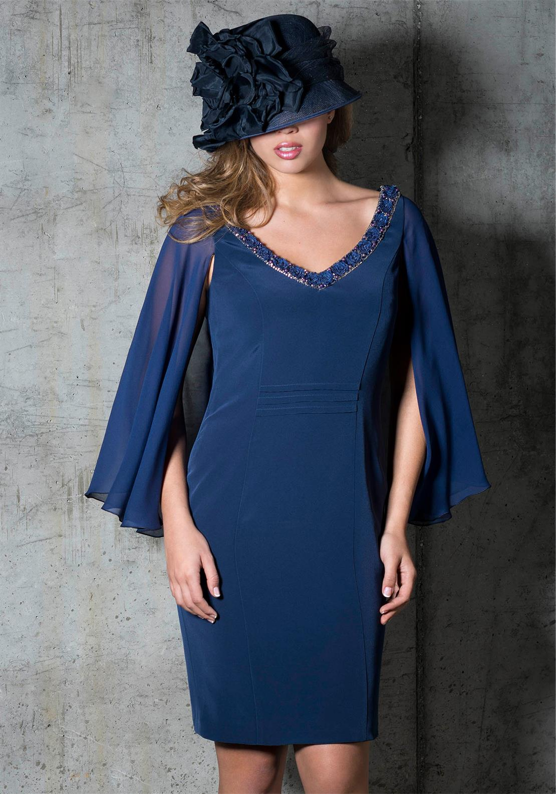 Carmen Melero Jewel Drape Dress, Navy