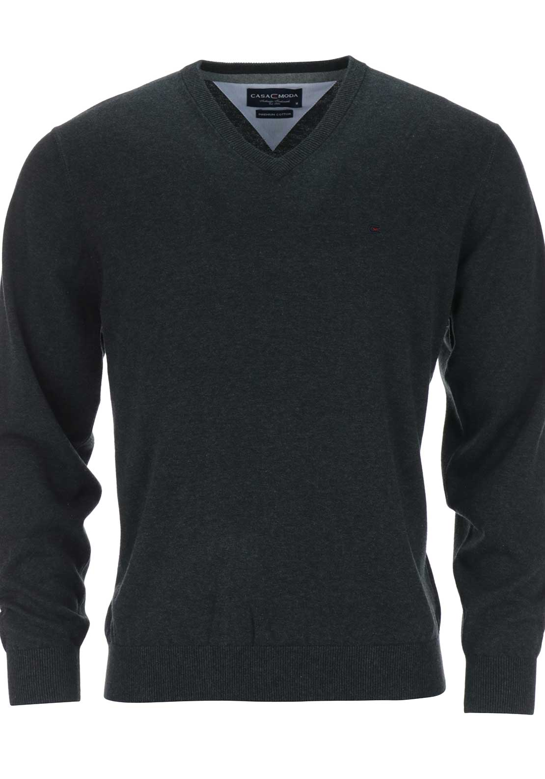 Casa Moda Mens V-Neck Premium Cotton Jumper, Charcoal