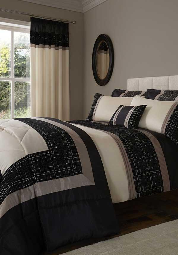 Catherine Lansfield Home Signature Collection Geo Embellished Duvet Set, Black