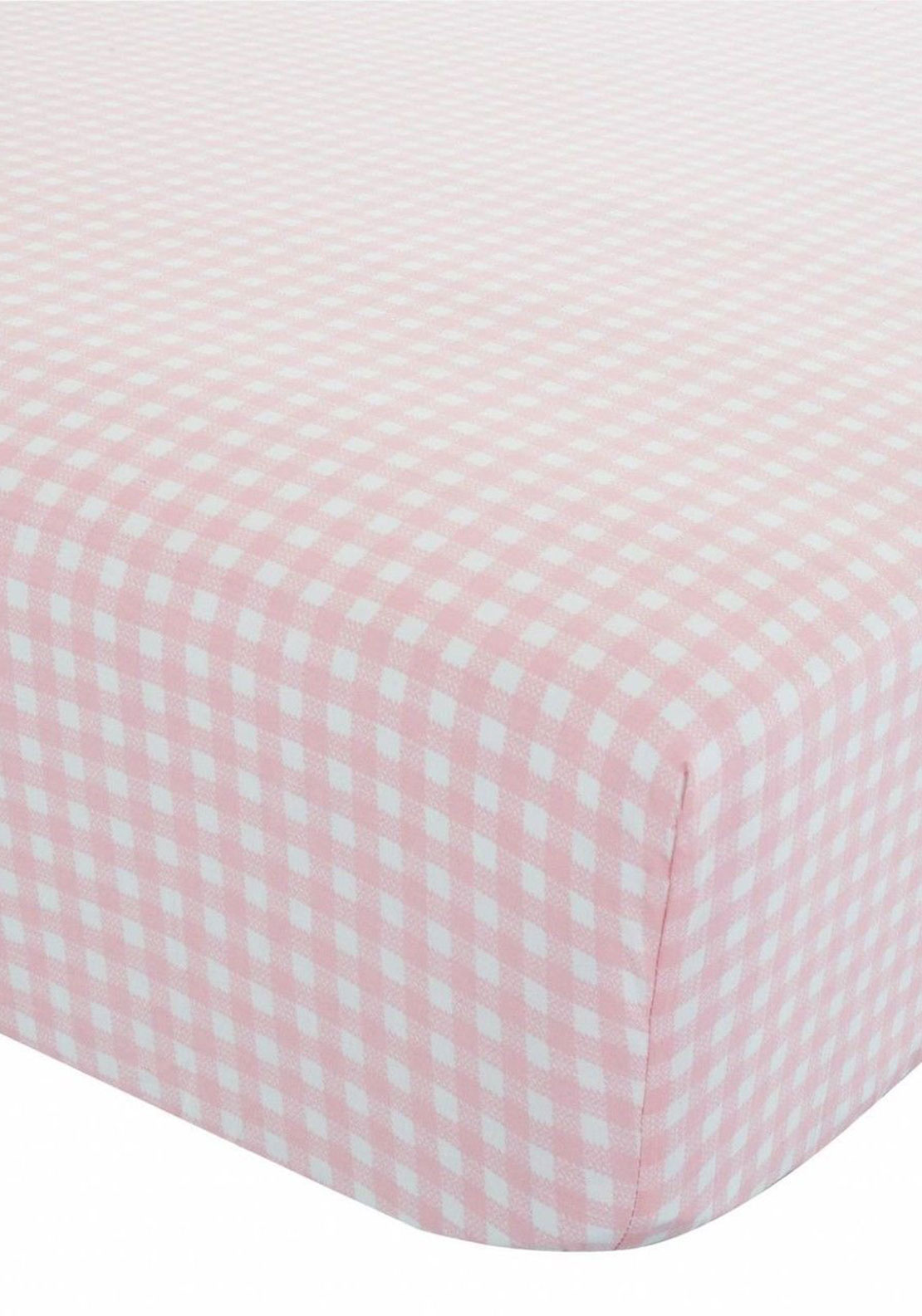 Catherine Lansfield Kids Gingham Fitted Sheet, Pink