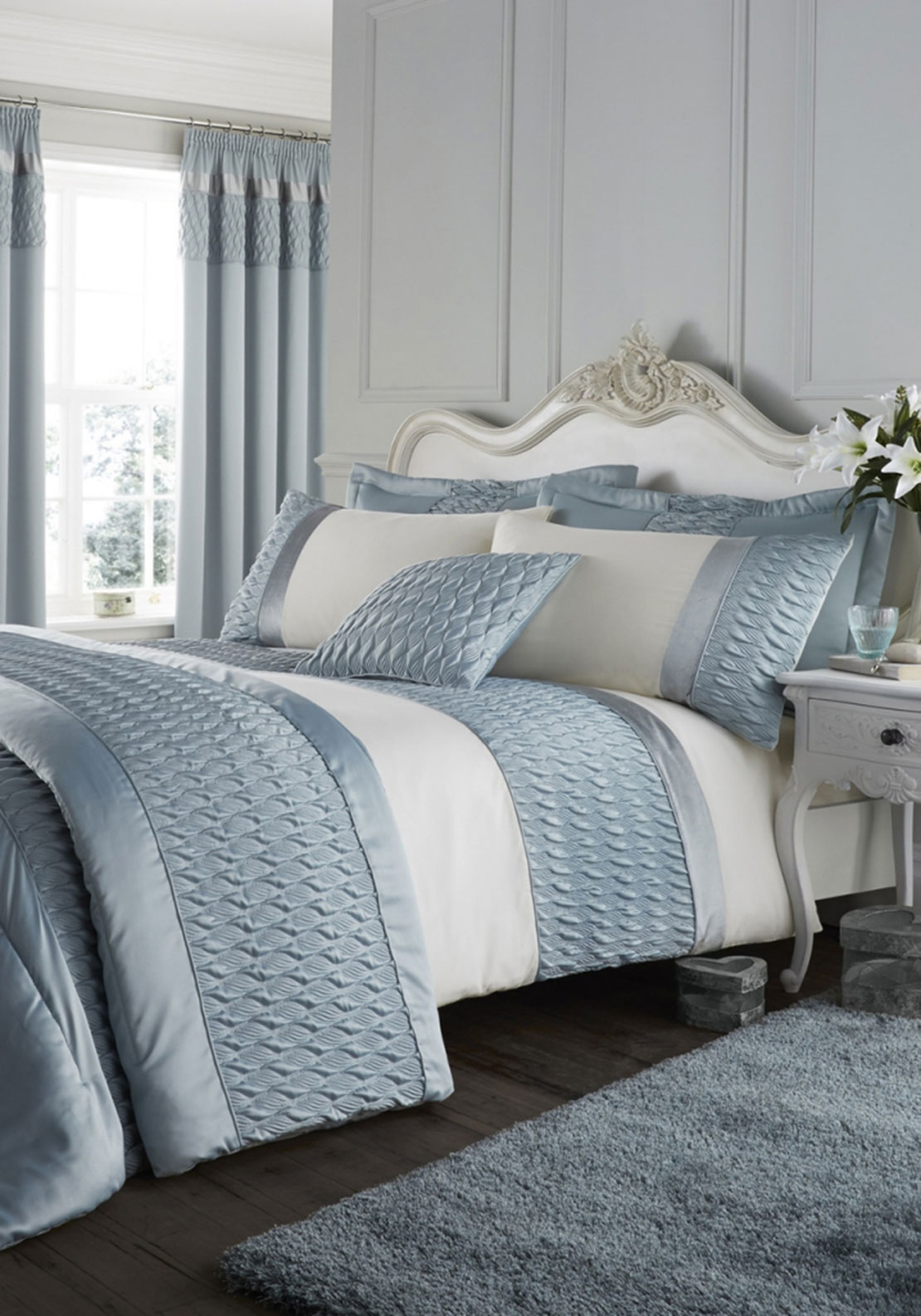 Catherine Lansfield Quilted Luxury Satin Duvet Cover Set