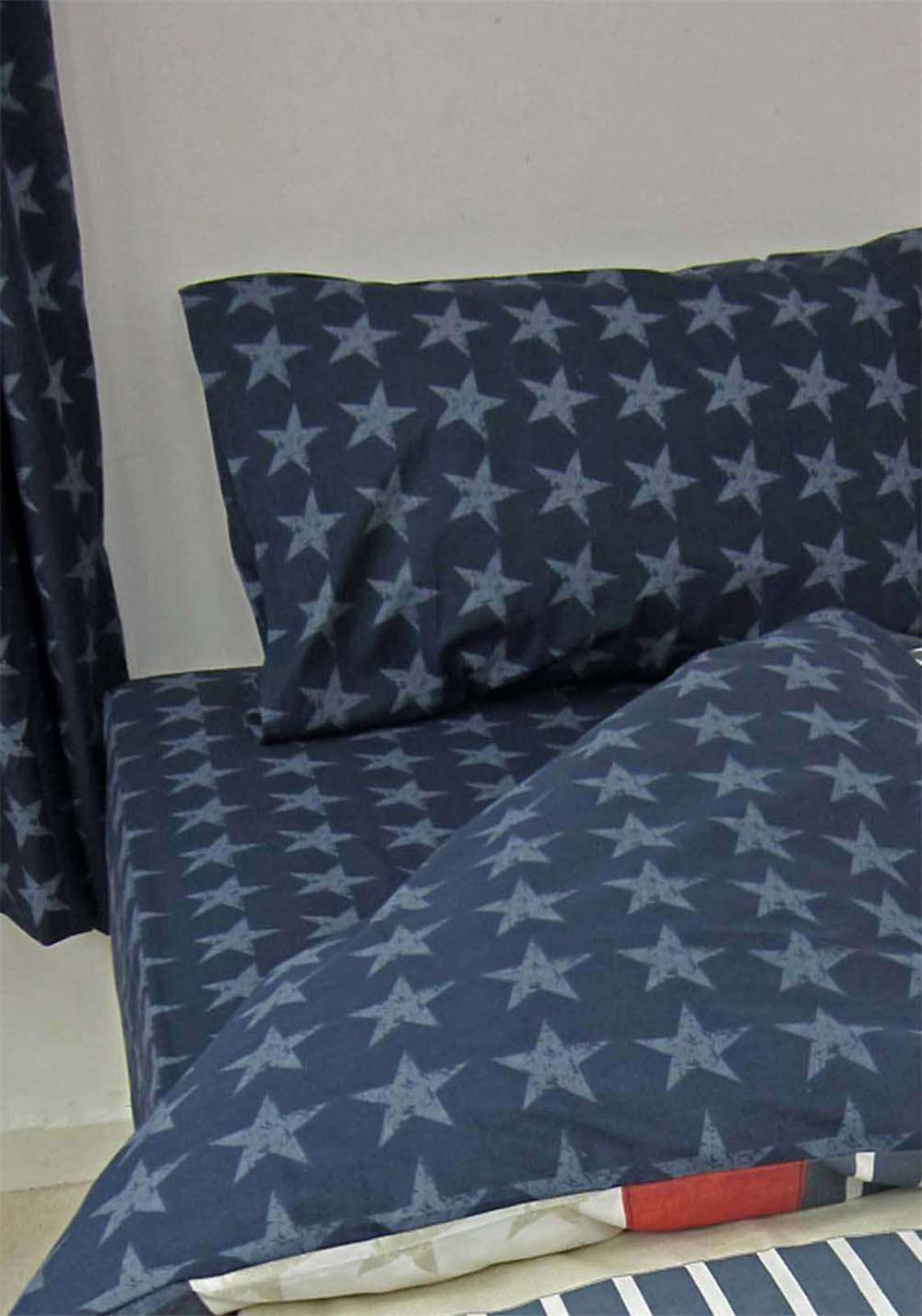 Catherine Lansfield Stars And Stripes Fitted Sheet, Navy