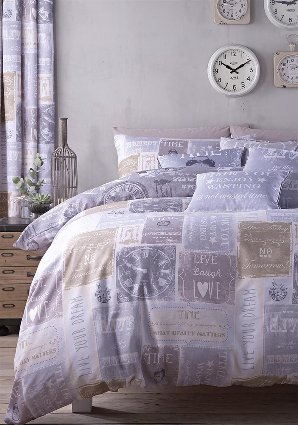 Catherine Lansfield Timely Reminder Cotton Rich Duvet Set, Natural