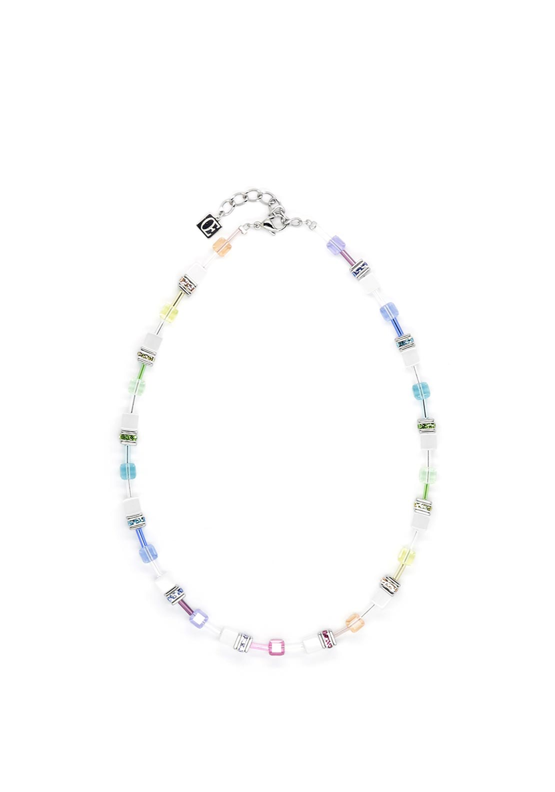 Coeur de Lion Geo Cube Necklace, Pastel & White
