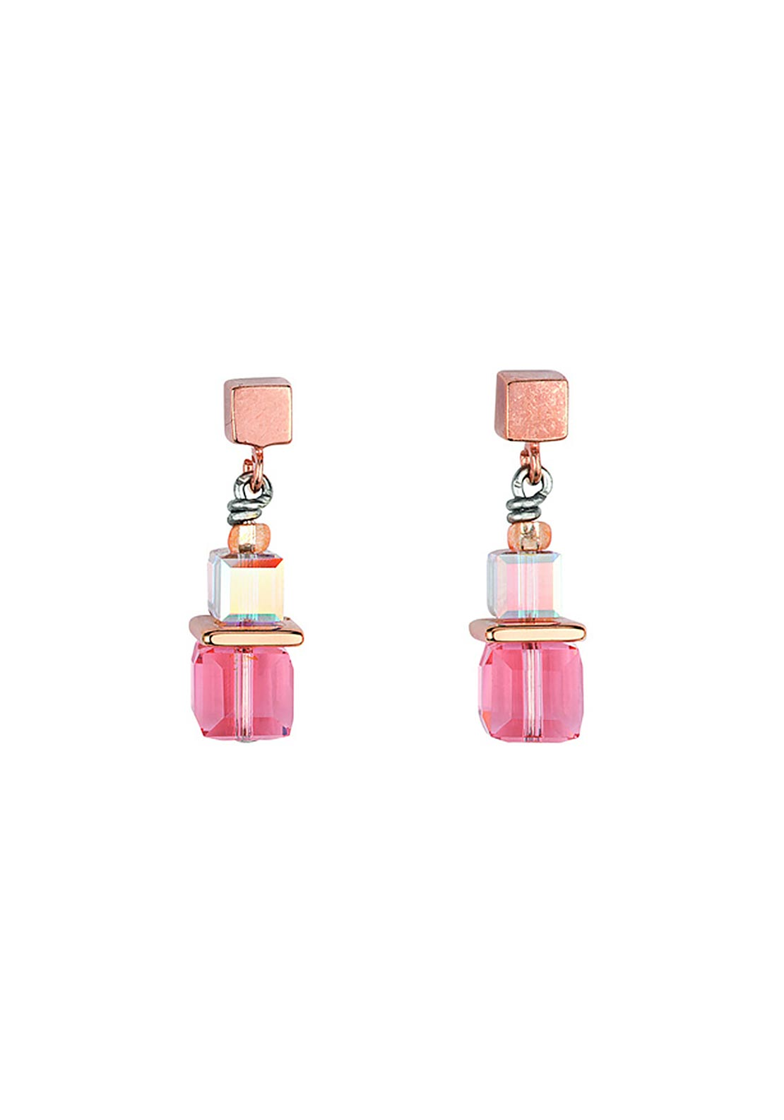 Coeur de Lion Geo Cube Earrings, Coral & Rose Gold
