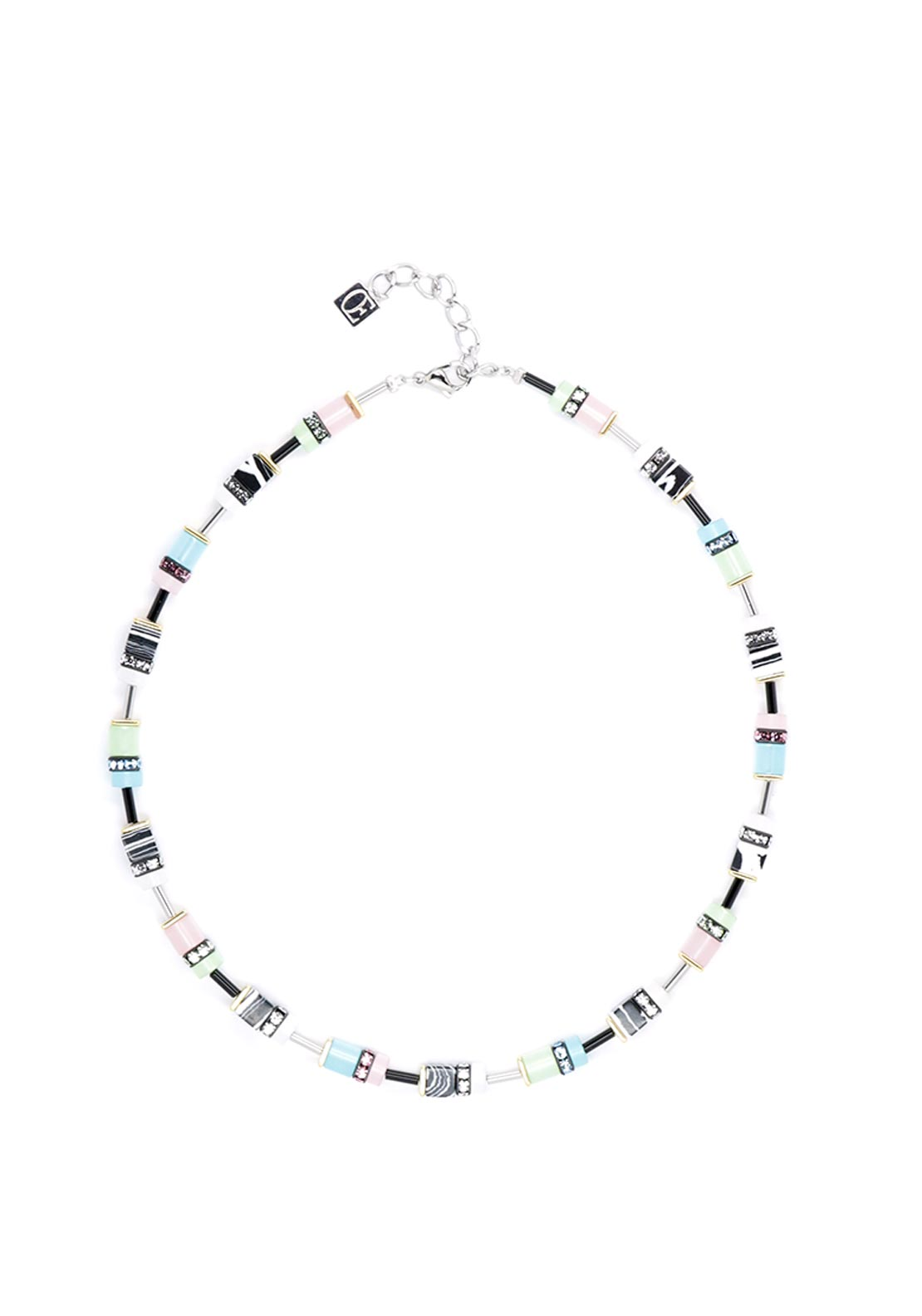 Coeur de Lion Geo Cube Necklace, Pastel & Multicolour