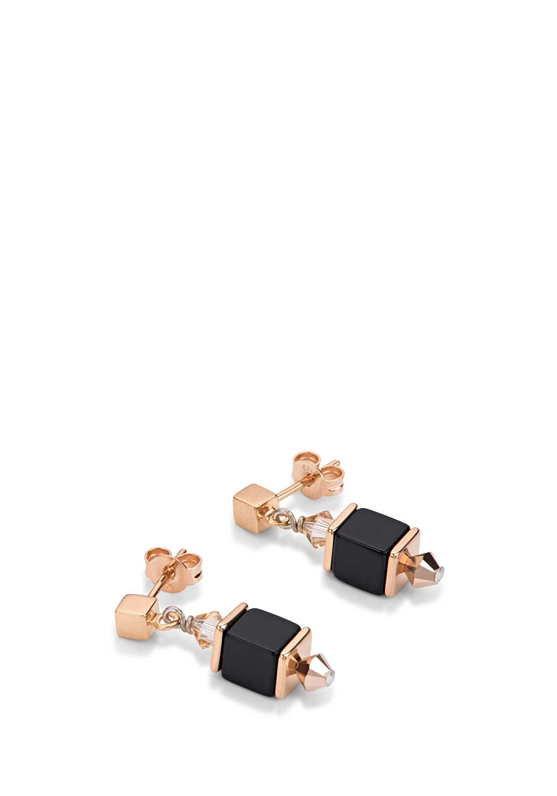 Coeur de Lion Geo Cube Earrings, Beige and Black