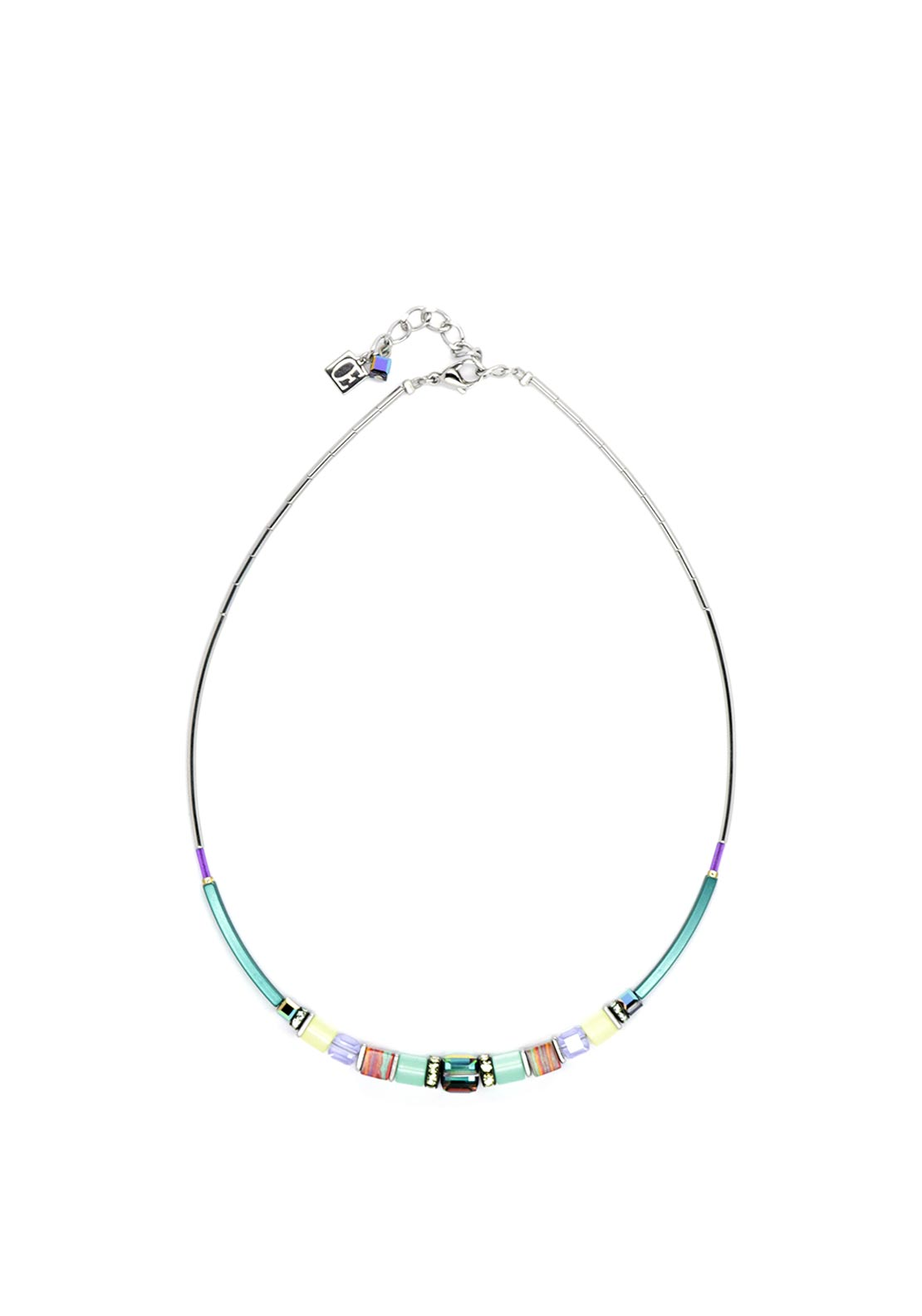 Coeur de Lion Geo Cube Necklace, Mint-Yellow