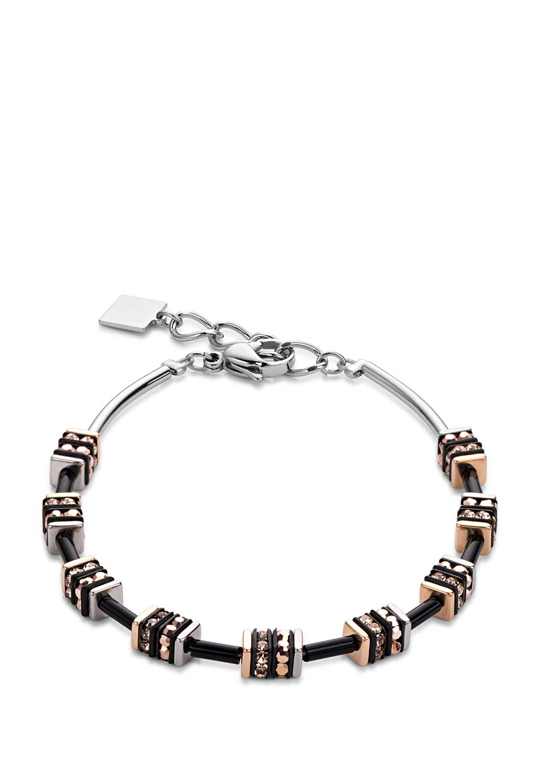 Coeur de Lion Geo Cube Bracelet, Black and Rose Gold