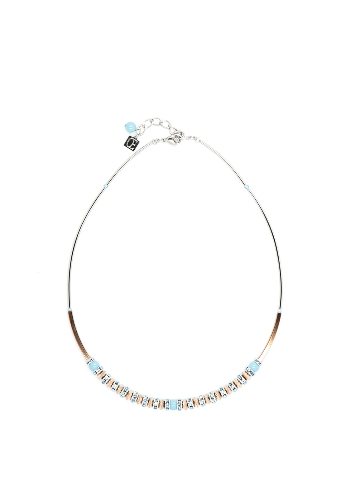 Coeur de Lion Crystal & Crystal Pearl Necklace, Turquoise & Silver