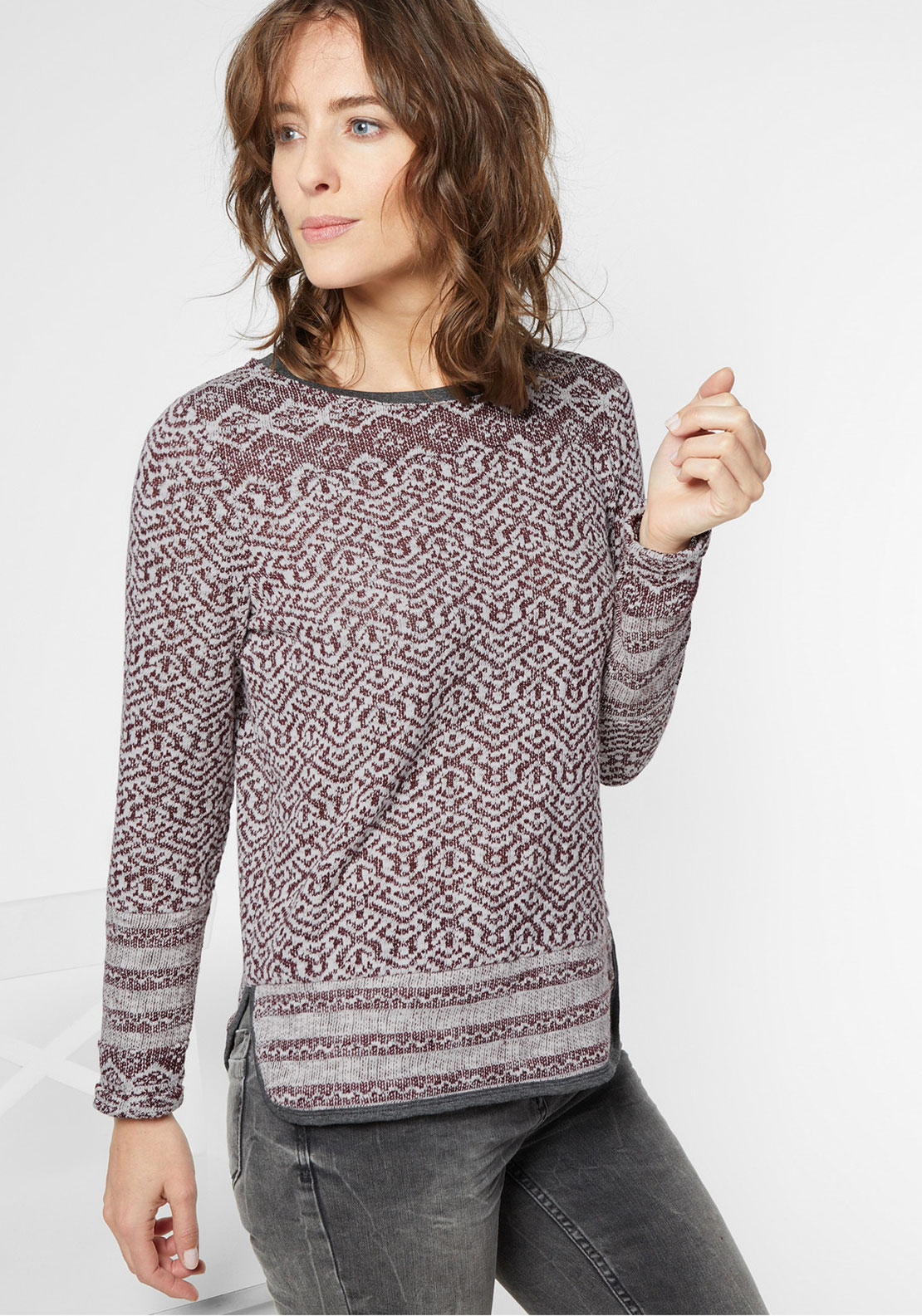 Cecil Printed Jumper, Wine and White
