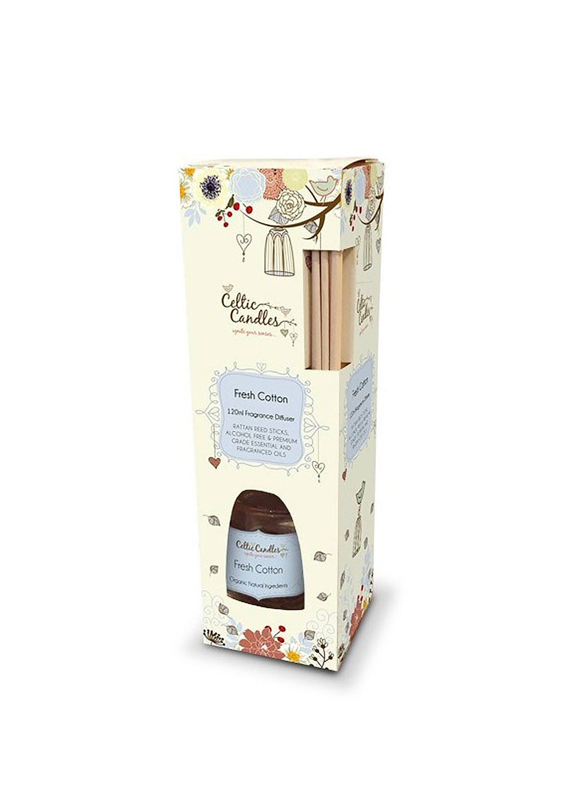 Celtic Candles Fresh Cotton Fragrance Reed Diffuser 120ml