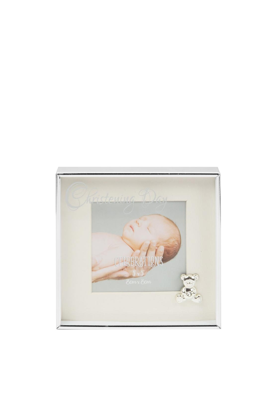 "Widdop Bingham 3"" x 3"" Silver Plated Box Frame, Christening Day"