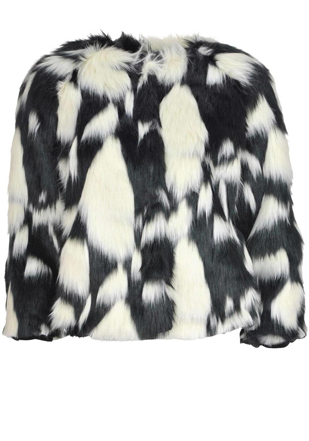 Christina & Co Deccarlo Faux Fur Jacket, Black & White