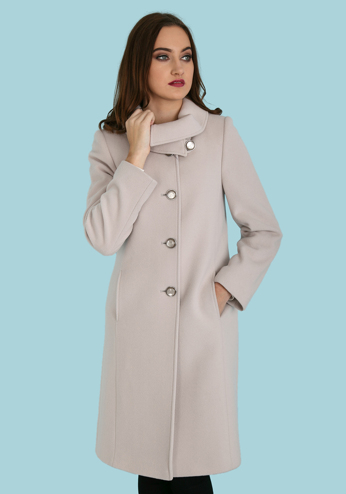 Christina Felix Shawl Collar Wool Coat, Beige
