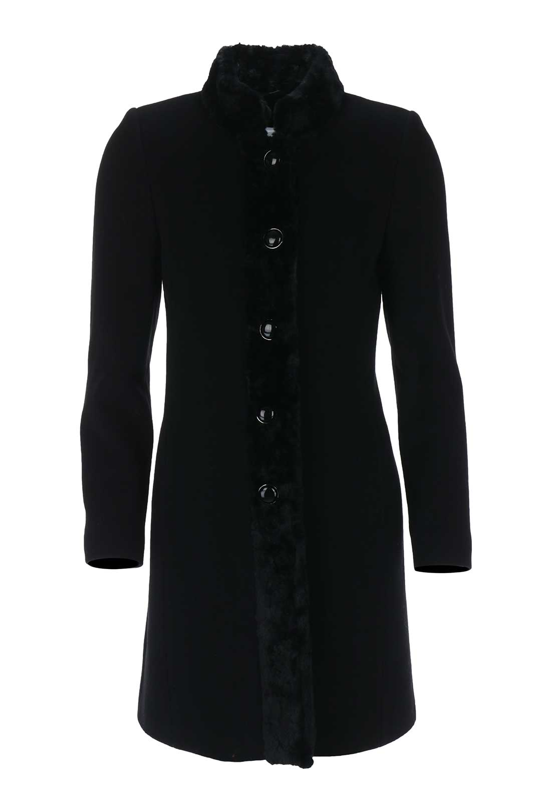 Christina Felix Faux Fur Trim Wool Coat, Black