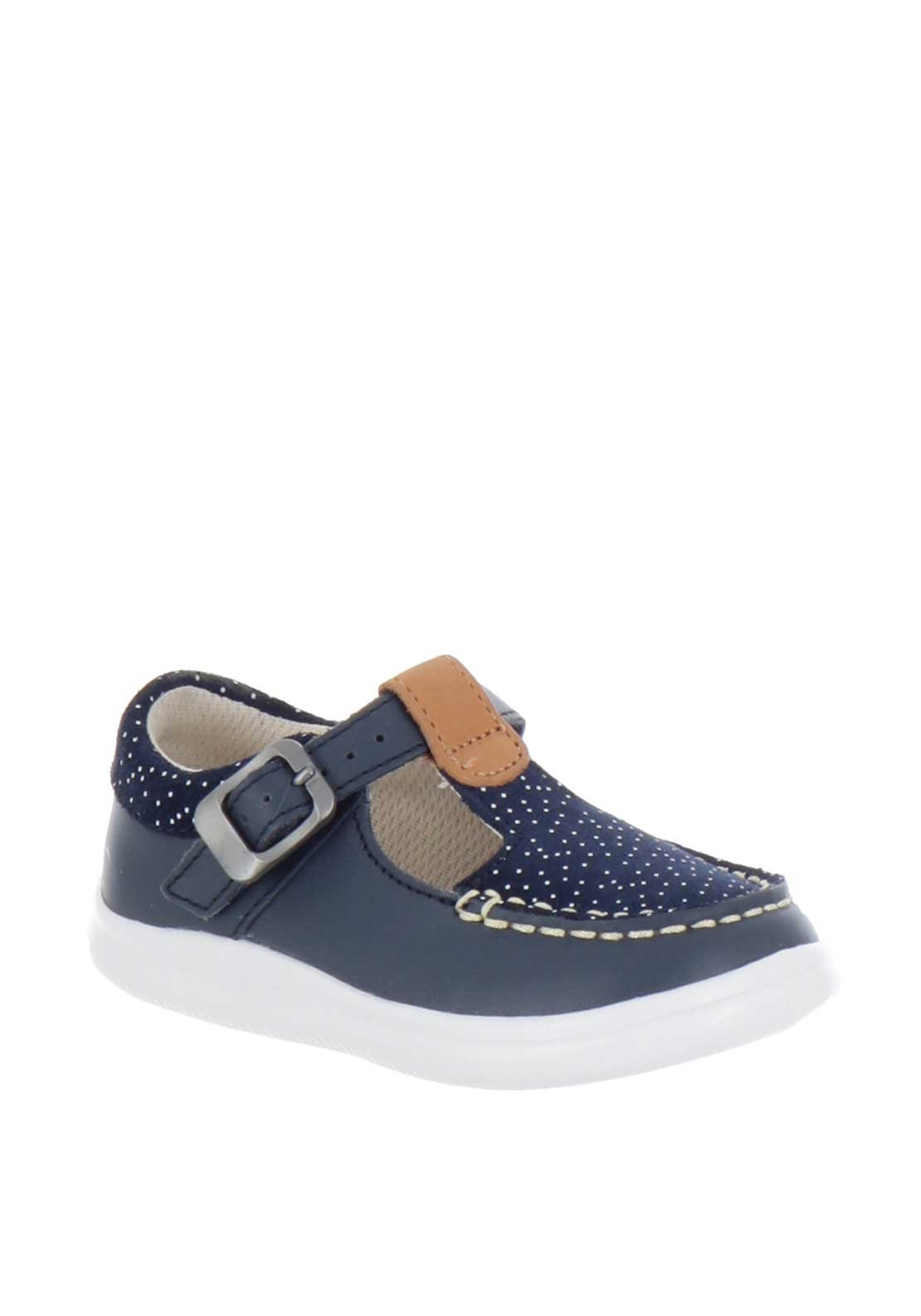 Clarks Baby Girls Cloud Rosa T-Bar Shoes, Navy