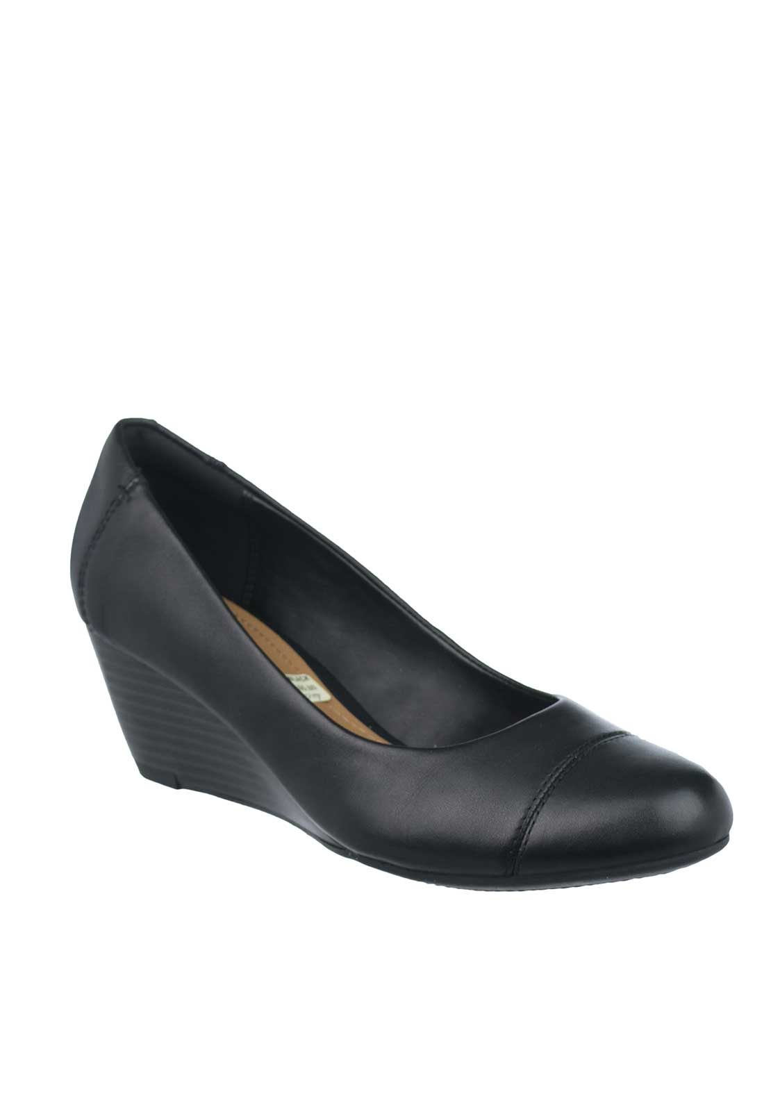 Clarks Womens Brielle Andi Leather Wedged Pump, Black