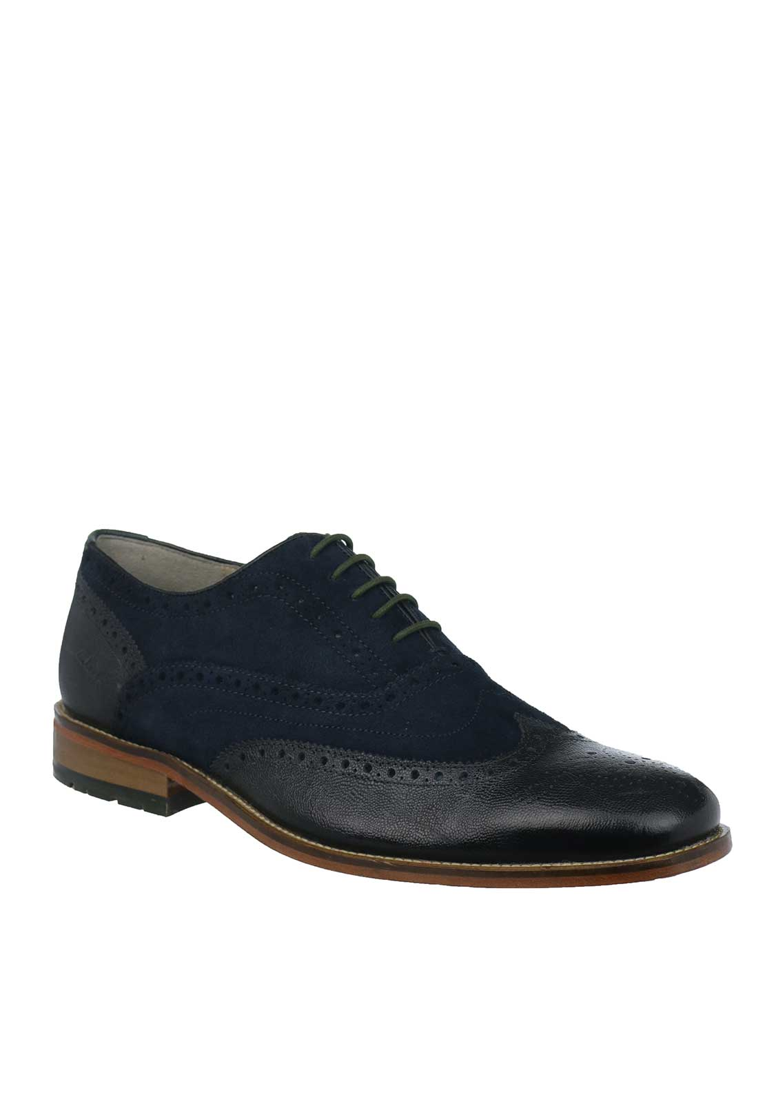 Clarks Mens Penton Limit Brogue Shoes, Navy