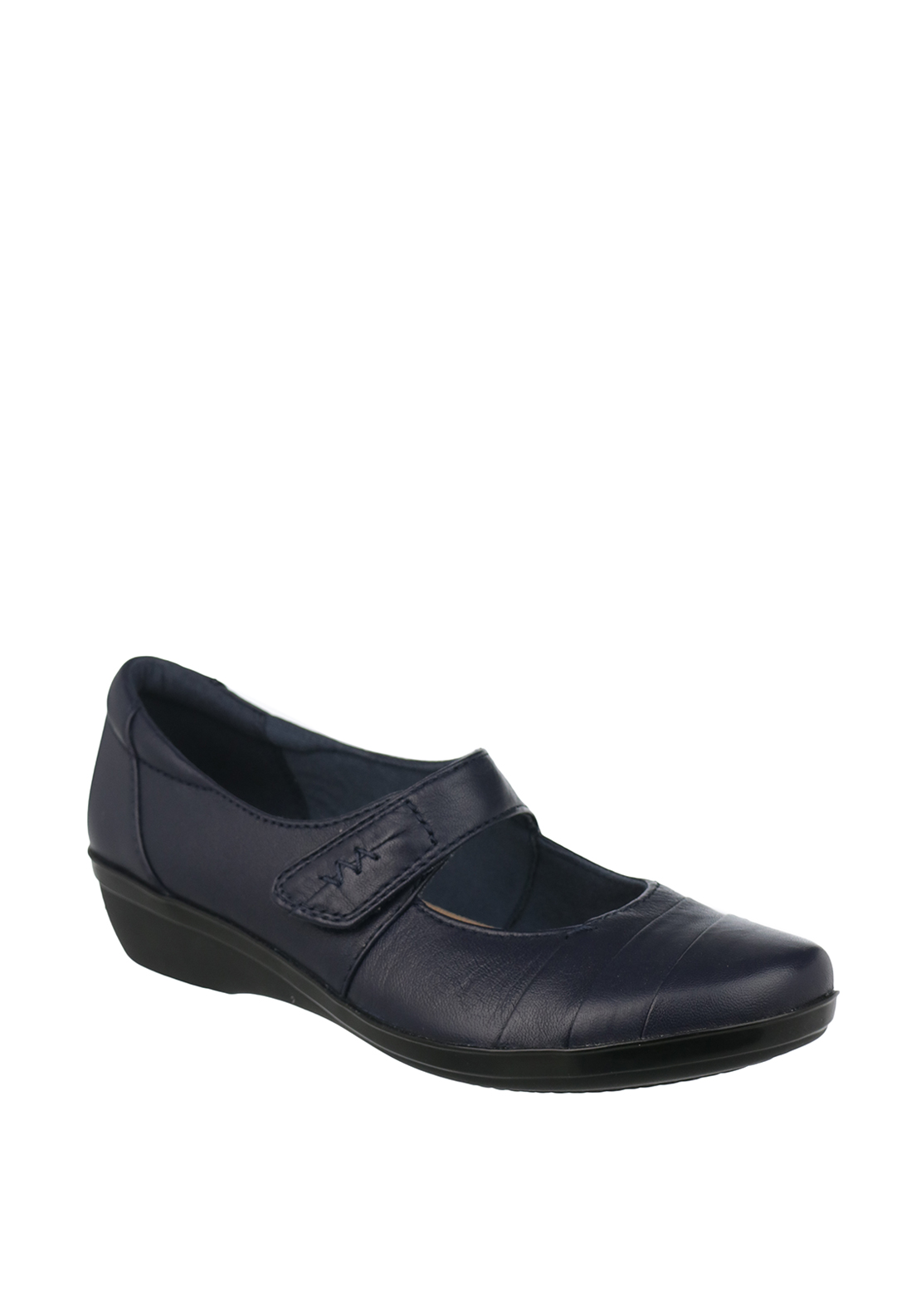 Clarks Womens Everlay Kennon Leather Velcro Strap Shoes, Navy