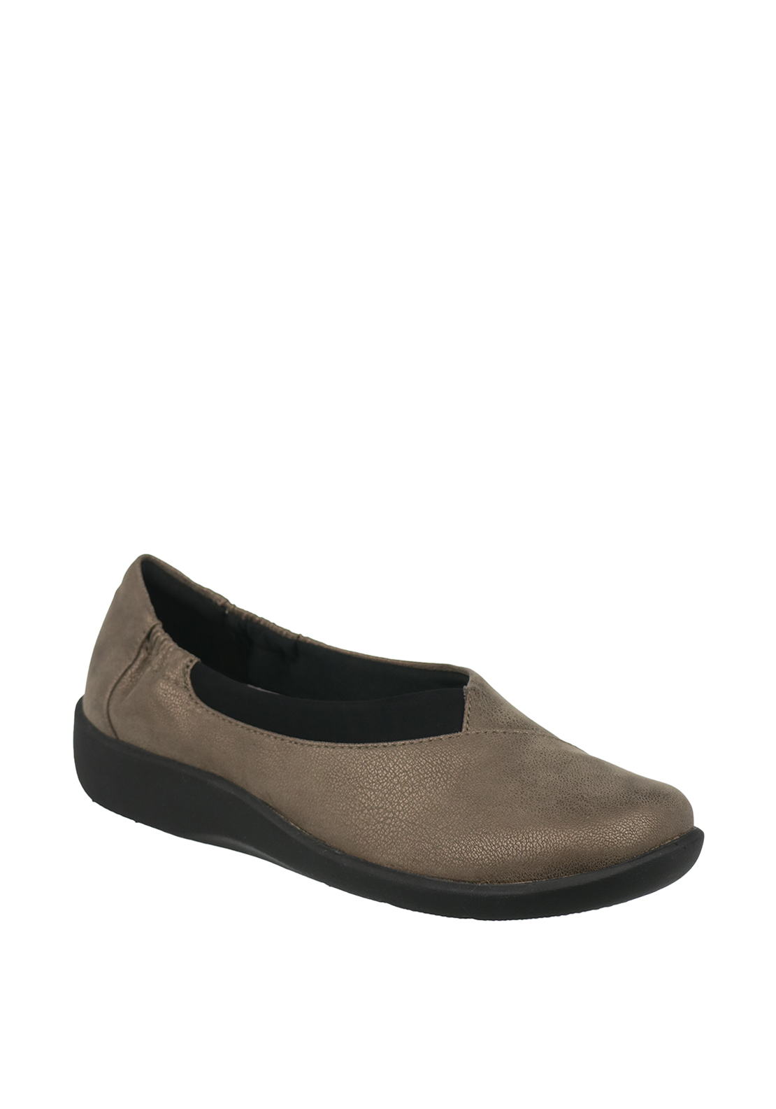 Clarks Womens Sillian Jetay Cloud Steppers Slip on Shoes, Pewter