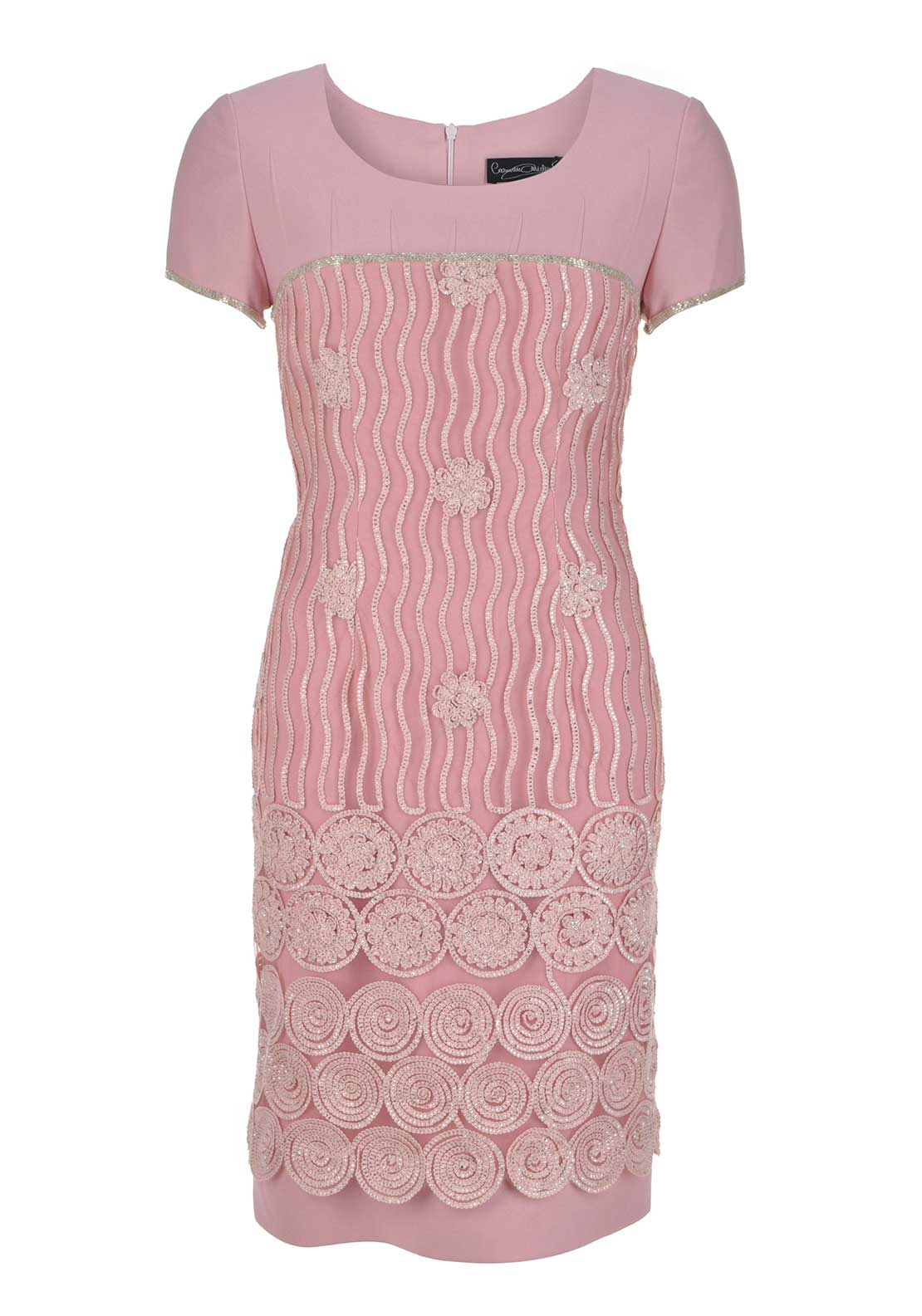 Carmen Melero Embellished Dress and Chiffon Scarf , Pink