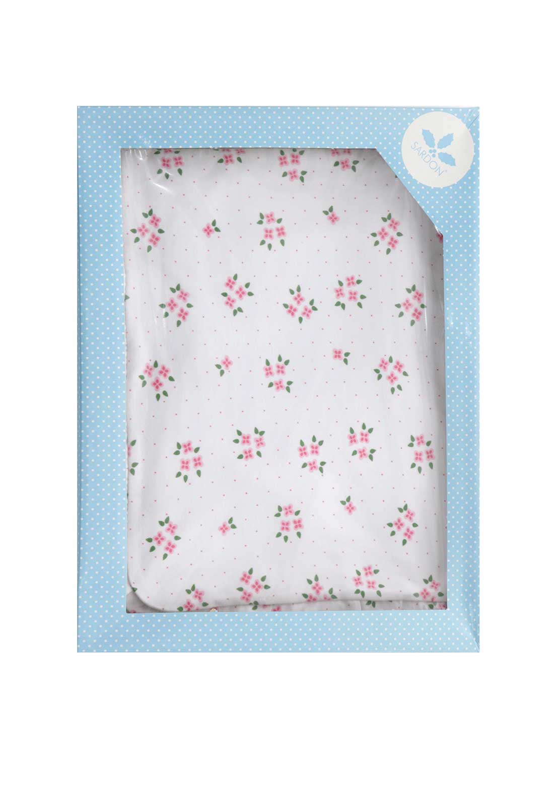 Sardon Floral Print Cotton Boxed Baby Blanket, White
