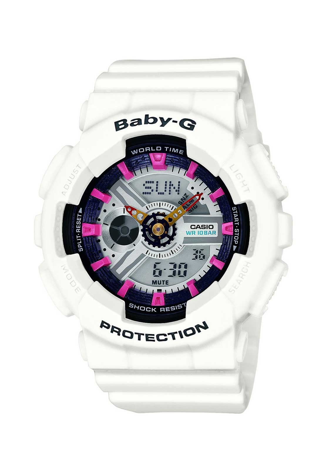 Casio Ladies Baby-G Alarm Chronograph Watch, White